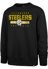 Pittsburgh Steelers 47 Stencil Stripe Headline Crew Sweatshirt - Black