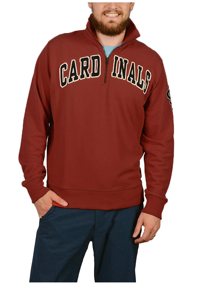 '47 St Louis Cardinals Mens Red Striker Long Sleeve 1/4 Zip Fashion Pullover - Image 1