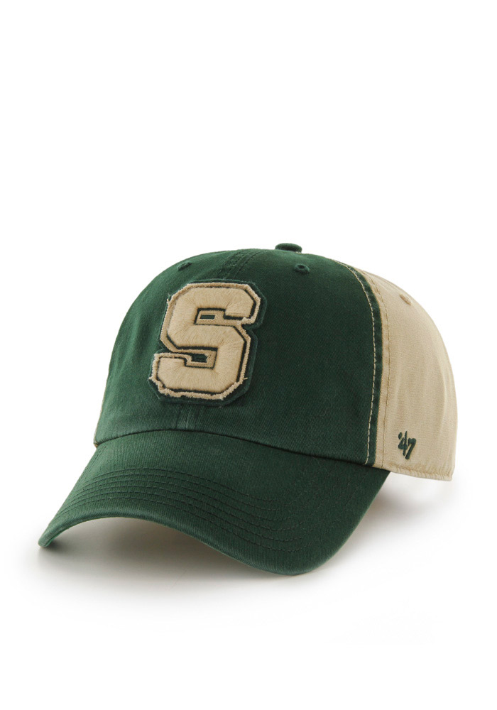 '47 Michigan State Spartans Mens Green Healey Clean Up Adjustable Hat - Image 1