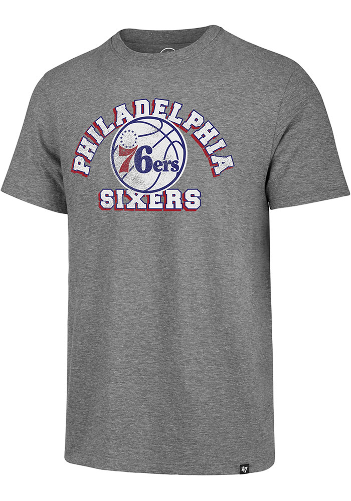 '47 Philadelphia 76ers Mens Grey Arch Short Sleeve Fashion T Shirt - Image 1