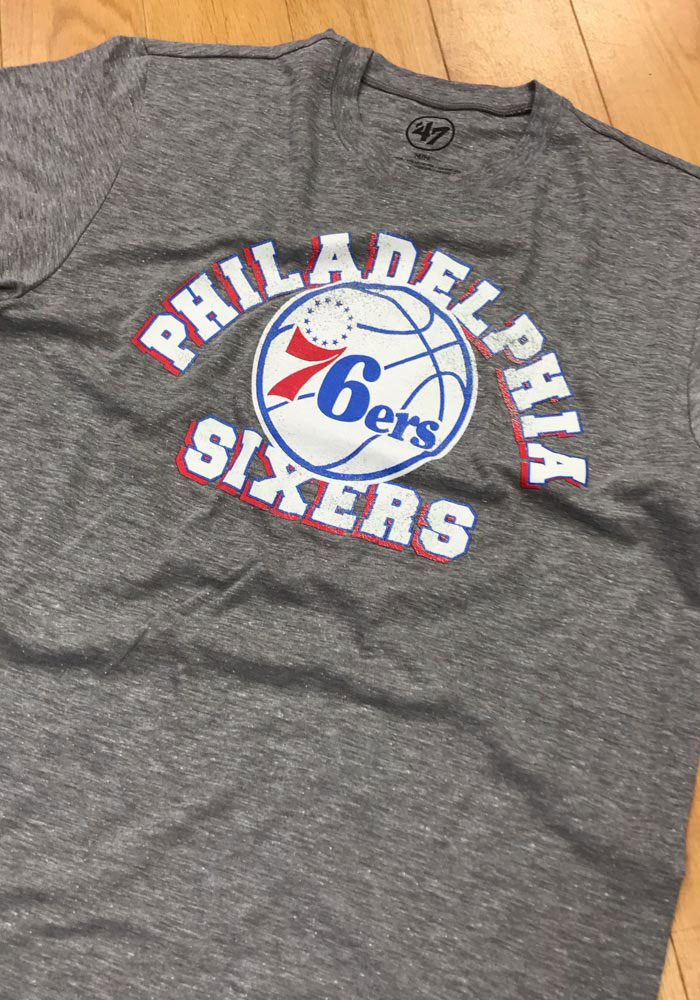 '47 Philadelphia 76ers Mens Grey Arch Short Sleeve Fashion T Shirt - Image 2