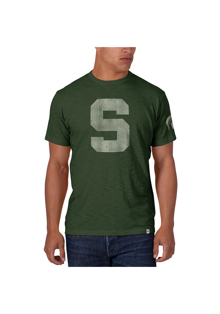 47 Michigan State Spartans Green Two Peat Short Sleeve Fashion T Shirt - Image 1