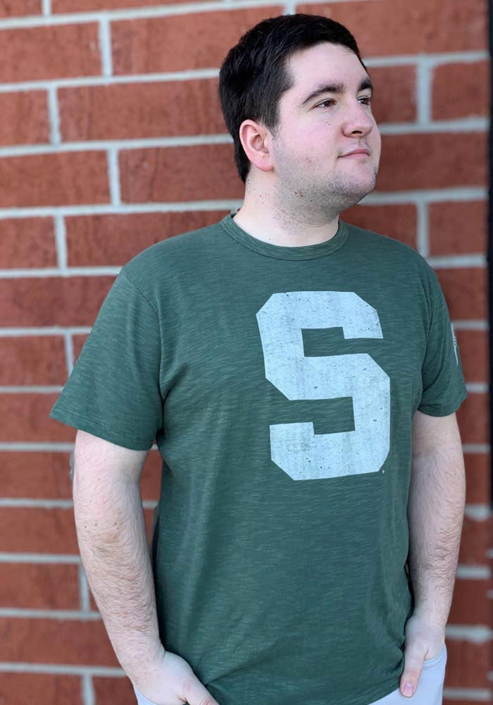 47 Michigan State Spartans Green Two Peat Short Sleeve Fashion T Shirt - Image 2