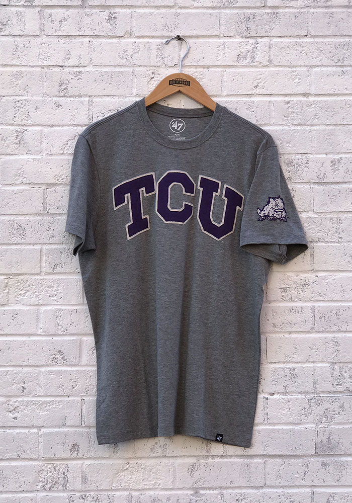 47 TCU Horned Frogs Grey Arch Short Sleeve Fashion T Shirt - Image 1