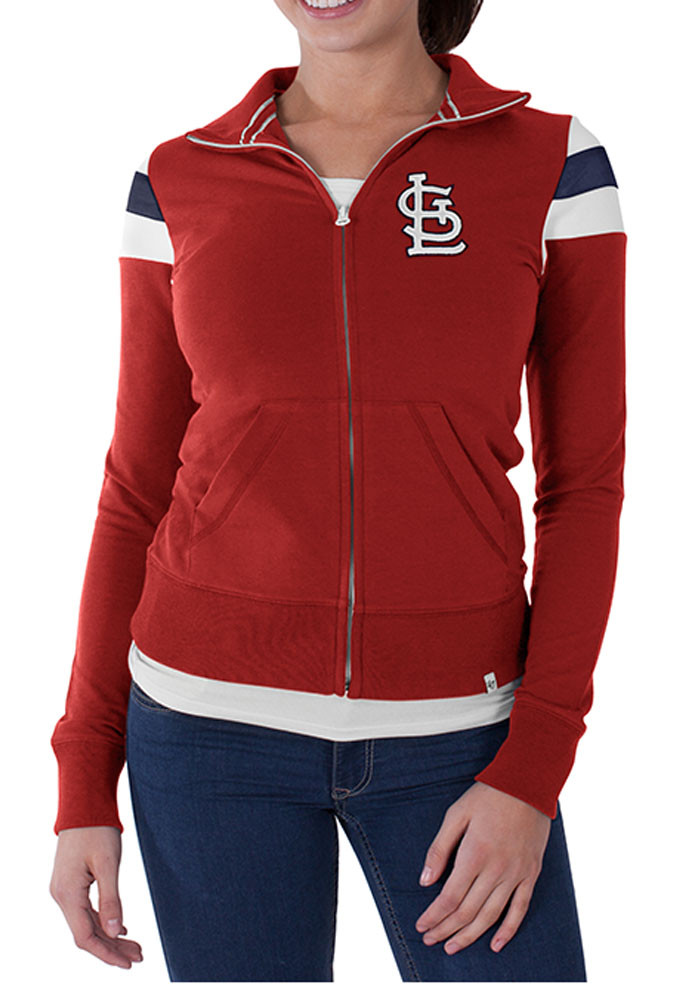 '47 St Louis Cardinals Womens Red Crossover Long Sleeve Track Jacket - Image 1