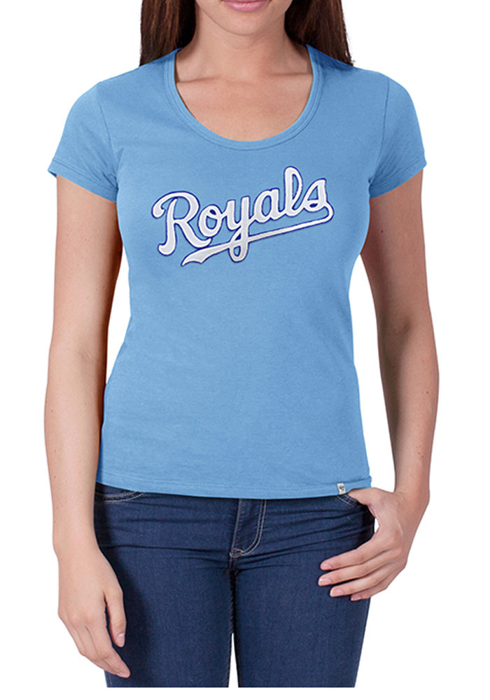 '47 Kansas City Royals Womens Light Blue Knockout Scoop T-Shirt - Image 1