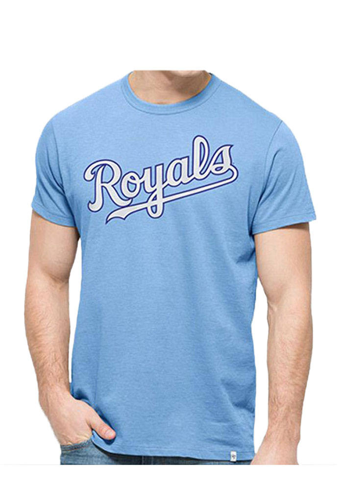 Kansas City Royals Light Blue Mens Wordmark and Logo Flanker MVP Tee - Image 1