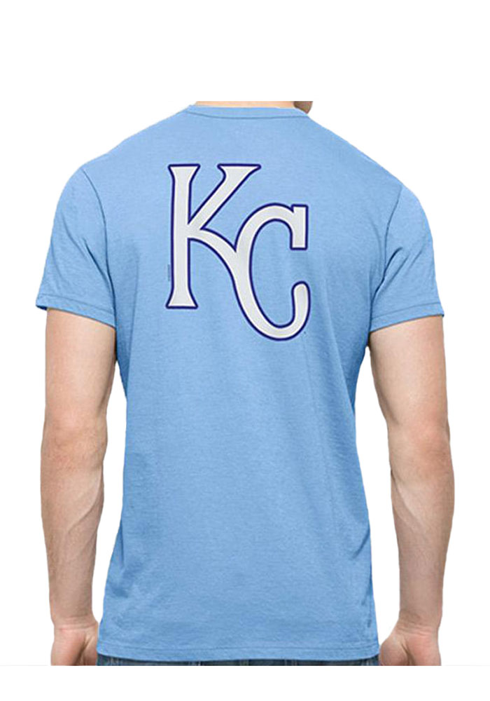 Kansas City Royals Light Blue Mens Wordmark and Logo Flanker MVP Tee - Image 2