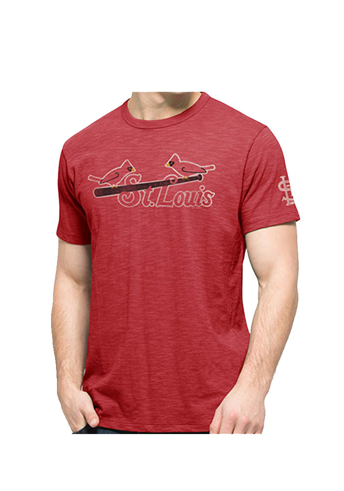 '47 St Louis Cardinals Mens Red Bird on Bat Scrum Short Sleeve Fashion T Shirt - Image 1
