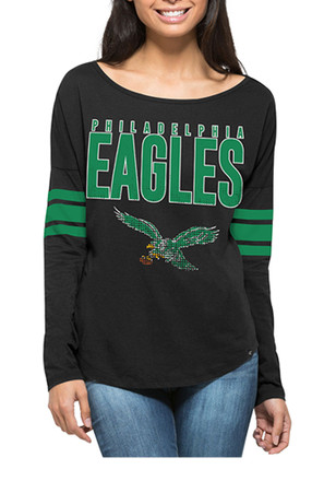 '47 Philadelphia Eagles Womens Courtside Black LS Tee