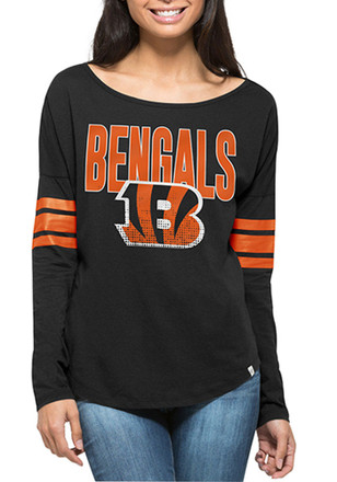'47 Cincinnati Bengals Womens Courtside Black LS Tee