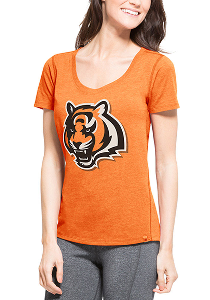 '47 Cincinnati Bengals Womens Orange Shift High Point SS Athleisure Tee - Image 1