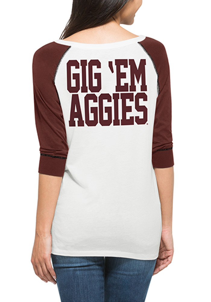 47 Texas A&M Juniors White Glitz Henley Long Sleeve Scoop Neck - Image 2
