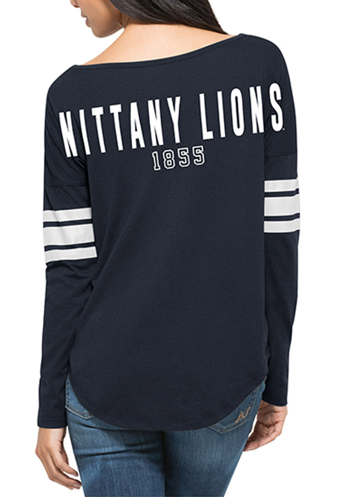 '47 Penn State Nittany Lions Womens Navy Blue Courtside Tee LS Tee - Image 2