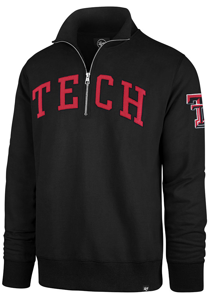 '47 Texas Tech Red Raiders Mens Black Striker Long Sleeve 1/4 Zip Fashion Pullover - Image 1