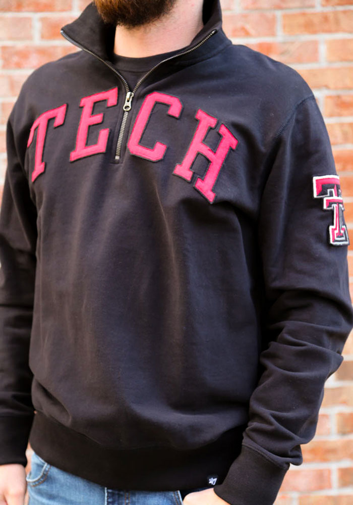 '47 Texas Tech Red Raiders Mens Black Striker Long Sleeve 1/4 Zip Fashion Pullover - Image 3