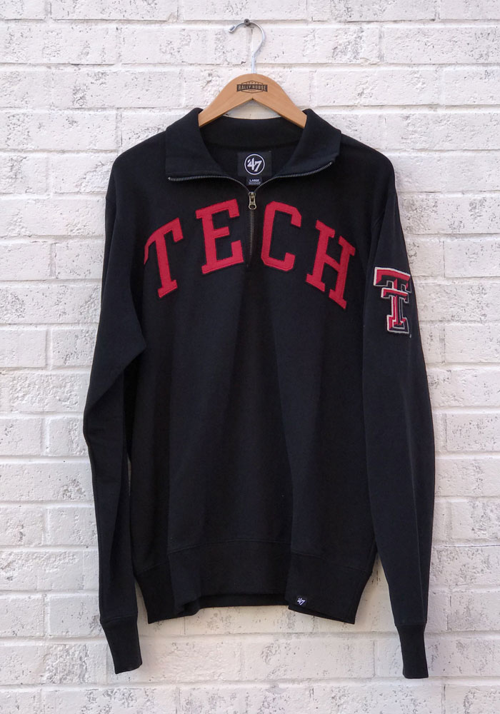 '47 Texas Tech Red Raiders Mens Black Striker Long Sleeve 1/4 Zip Fashion Pullover - Image 4