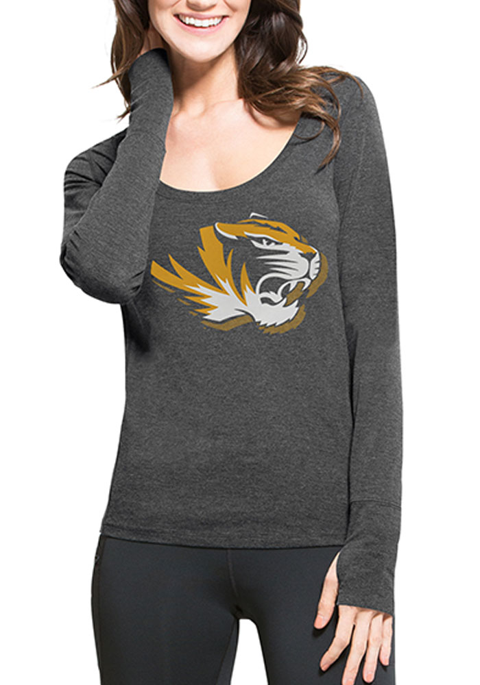 '47 Mizzou Tigers Womens Black Dash Long Sleeve Scoop Neck - Image 1