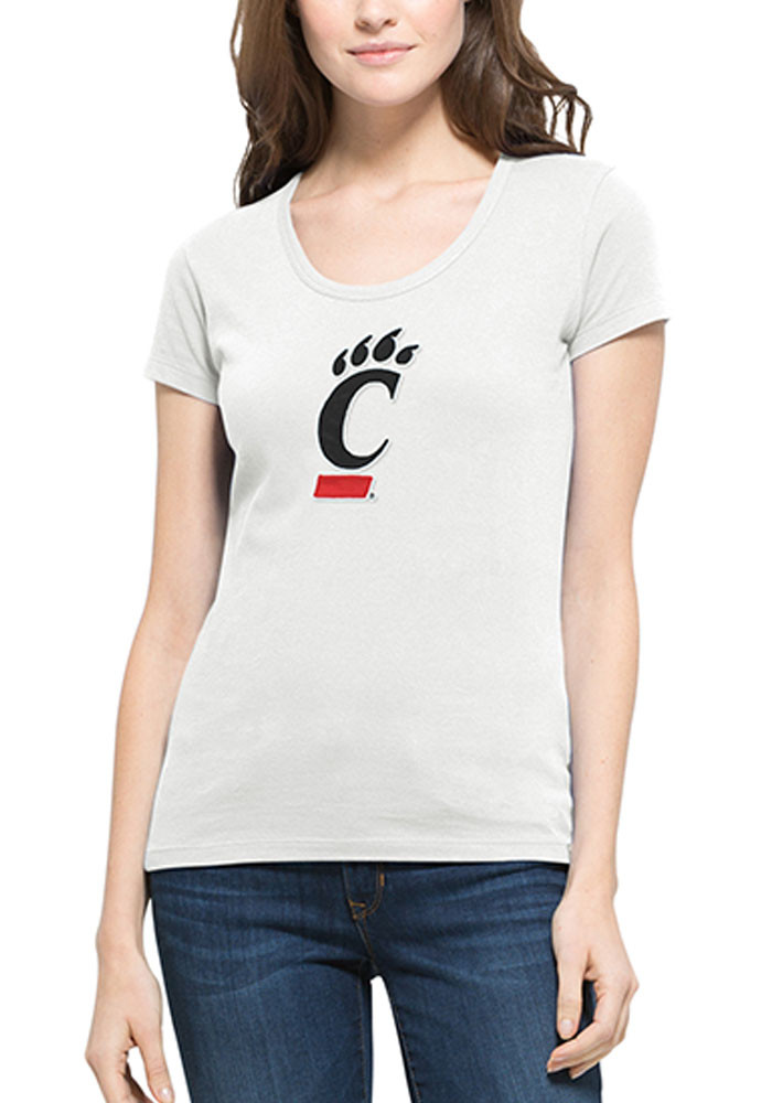 '47 Cincinnati Bearcats Womens White Knockout Scoop Scoop T-Shirt - Image 1