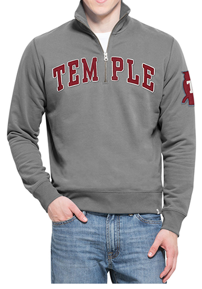'47 Temple Owls Mens Grey Striker Long Sleeve 1/4 Zip Fashion Pullover - Image 1