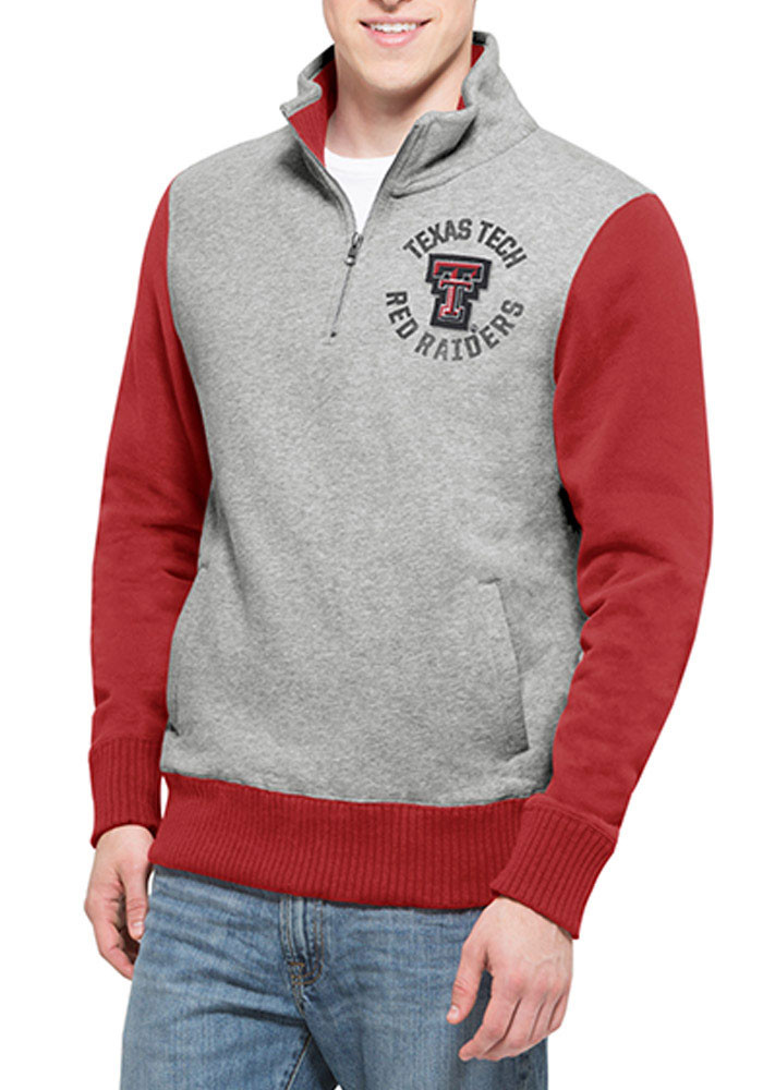'47 Texas Tech Red Raiders Mens Grey Wreck Em Long Sleeve 1/4 Zip Fashion Pullover - Image 1