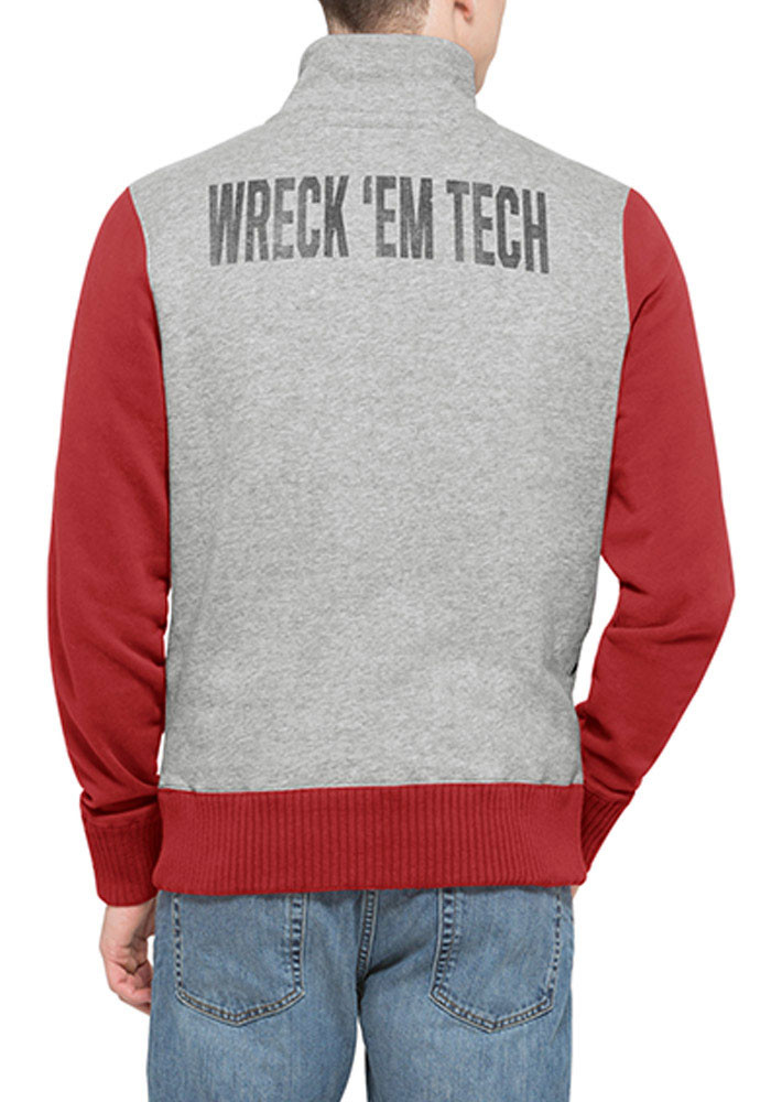 '47 Texas Tech Red Raiders Mens Grey Wreck Em Long Sleeve 1/4 Zip Fashion Pullover - Image 2
