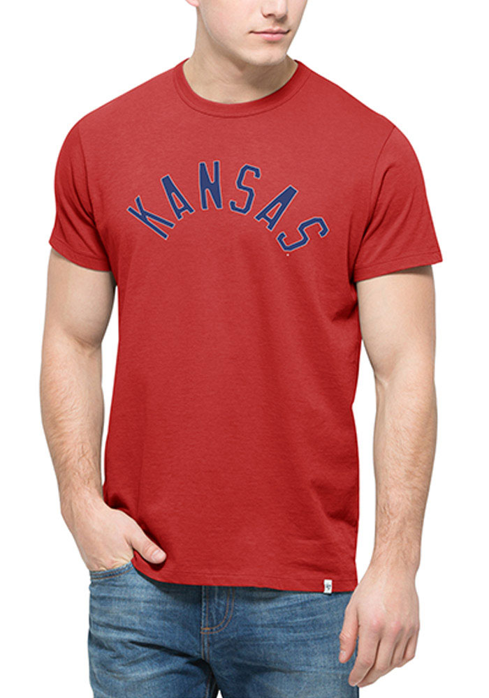 47 Kansas Jayhawks Red Crosstown Short Sleeve Fashion T Shirt - Image 1
