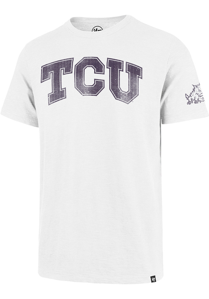'47 TCU Horned Frogs Mens White Logo Short Sleeve Fashion T Shirt - Image 1