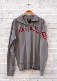 47 Oklahoma Sooners Grey Striker 1/4 Zip Fashion Pullover