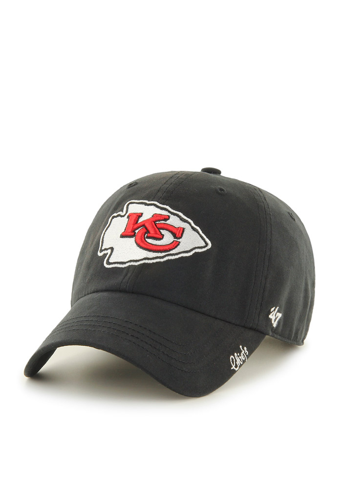 '47 Kansas City Chiefs Black Miata Clean Up Womens Adjustable Hat - Image 1