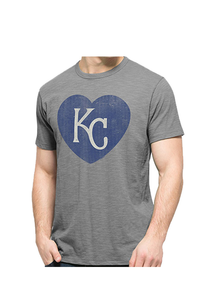 47 Kansas City Royals Grey Heart Scrum Short Sleeve Fashion T Shirt - Image 1