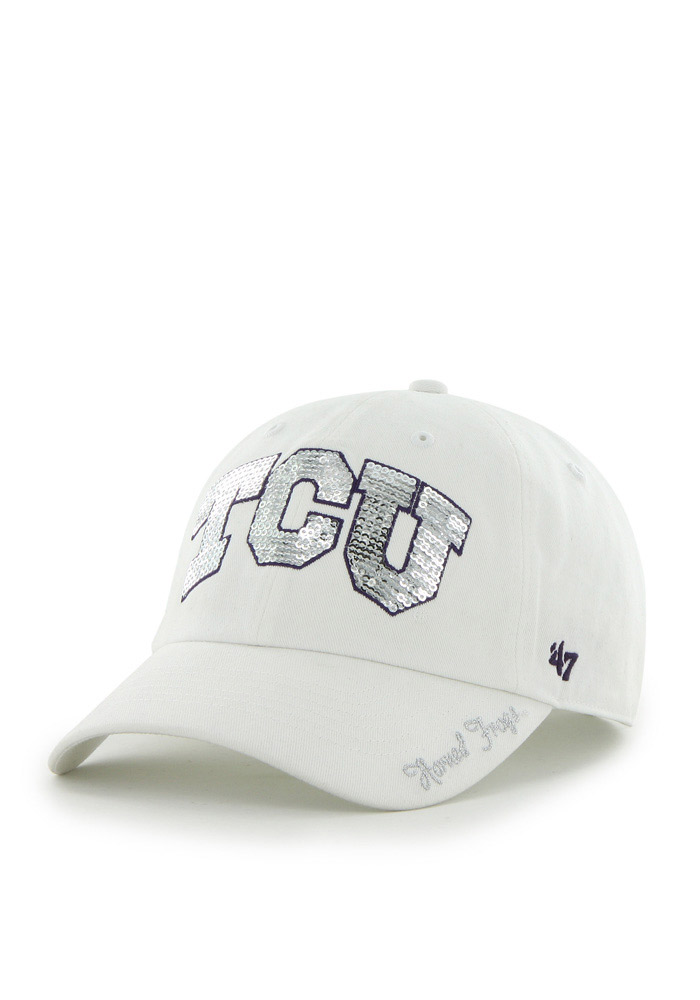 47 tcu horned frogs white sparkle clean up womens adjustable hat