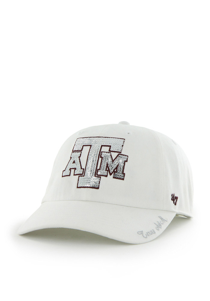 '47 Texas A&M Aggies White Sparkle Clean Up Womens Adjustable Hat - Image 1