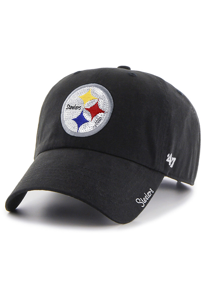 '47 Pittsburgh Steelers Black Sparkle Clean Up Womens Adjustable Hat - Image 1