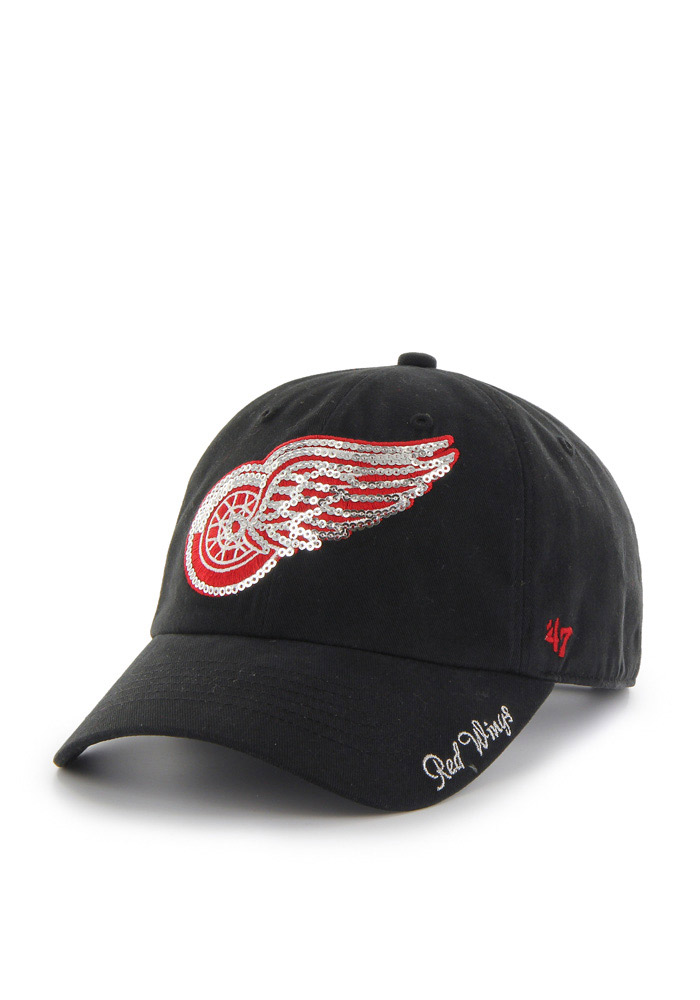 47 Detroit Red Wings Black Sparkle Clean Up Womens Adjustable Hat - Image 1