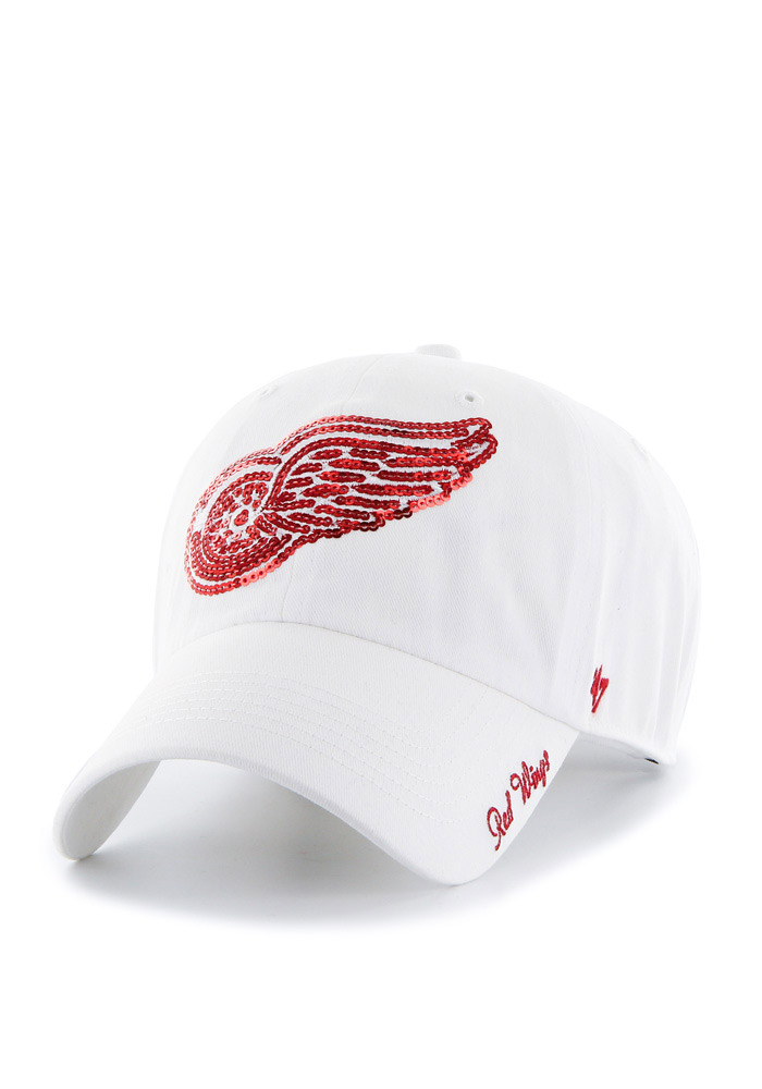 47 Detroit Red Wings White Sparkle Clean Up Womens Adjustable Hat - Image 1