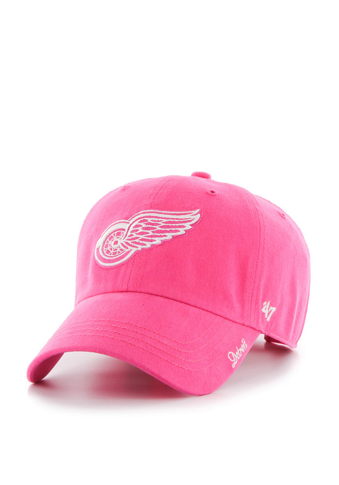 '47 Detroit Red Wings Pink Miata Clean Up Womens Adjustable Hat - Image 1