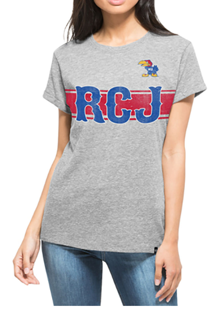 '47 Kansas Jayhawks Womens Grey Super Hero Short Sleeve T-Shirt - Image 1