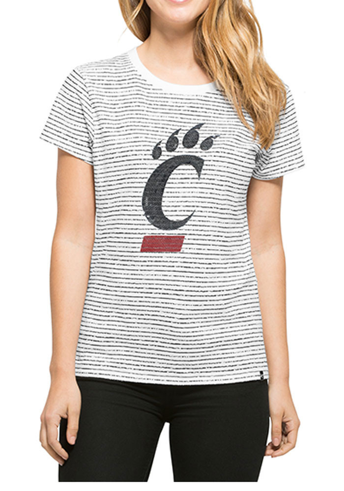 '47 Cincinnati Bearcats Womens White Sparkle Stripe Short Sleeve Crew T-Shirt - Image 1