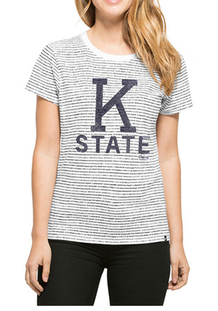 '47 K-State Wildcats Womens Sparkle Stripe White T-Shirt