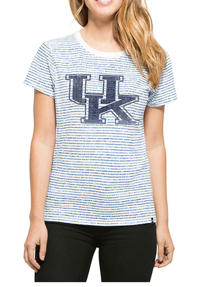 '47 Kentucky Wildcats Womens White Sparkle Stripe Short Sleeve Crew T-Shirt - Image 1