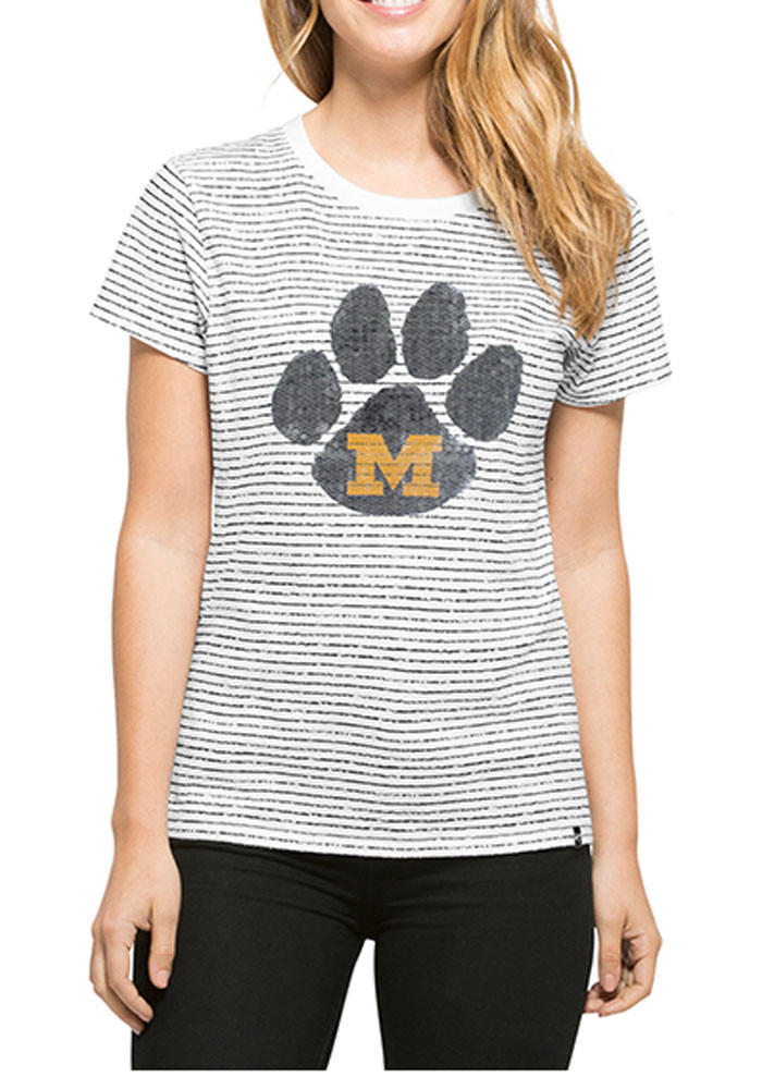 '47 Missouri Tigers Womens White Sparkle Stripe Short Sleeve Crew T-Shirt - Image 1