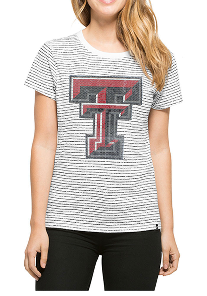 '47 Texas Tech Red Raiders Womens White Sparkle Stripe Short Sleeve Crew T-Shirt - Image 1