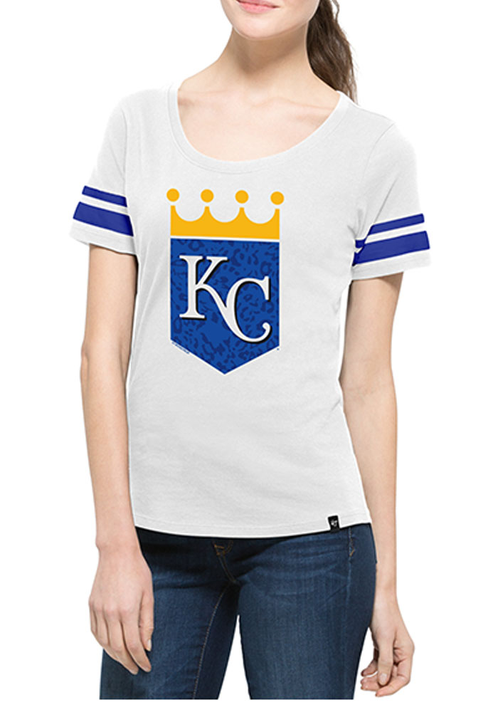 '47 Kansas City Royals Womens White Halfback Scoop T-Shirt - Image 1