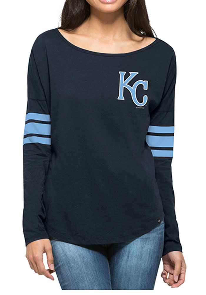 47 Kansas City Royals Womens Navy Blue Ultra Courtside LS Tee - Image 1