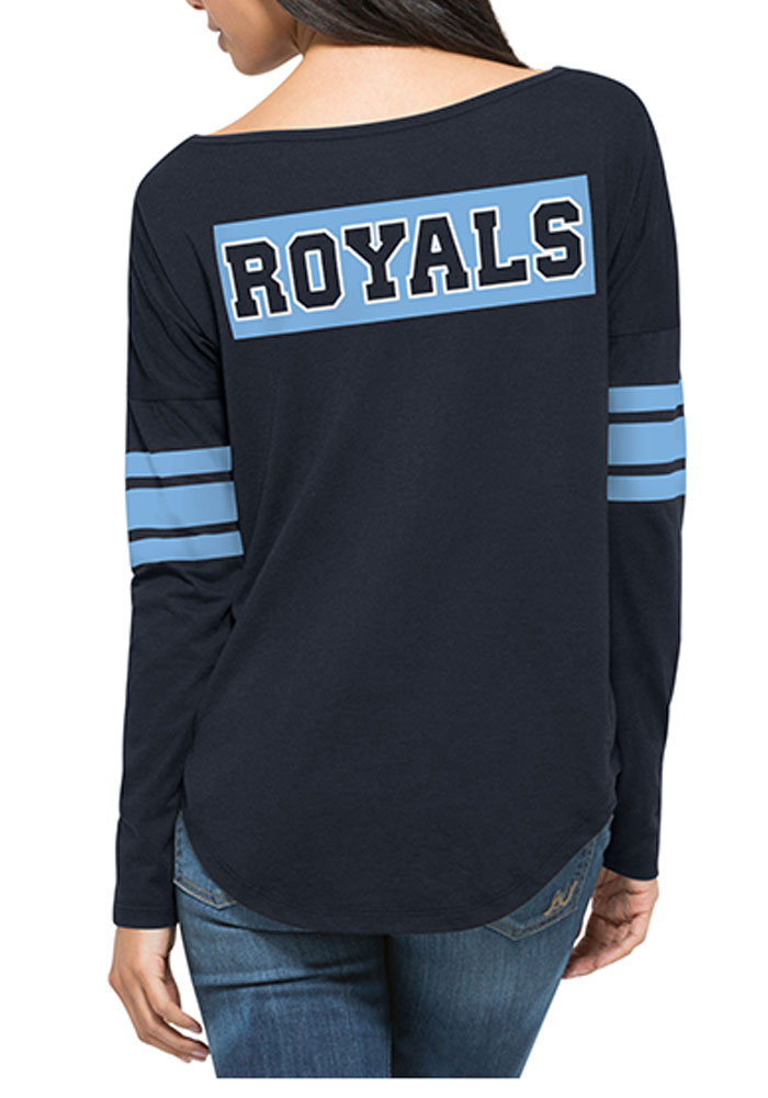 47 Kansas City Royals Womens Navy Blue Ultra Courtside LS Tee - Image 2