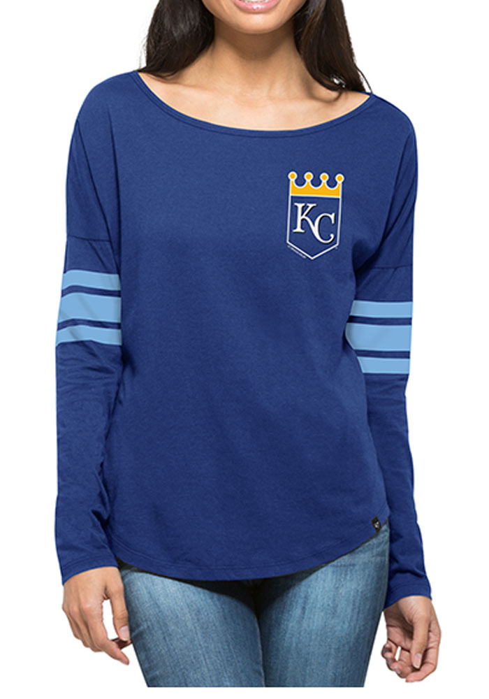 '47 Kansas City Royals Womens Blue Ultra Courtside LS Tee - Image 1