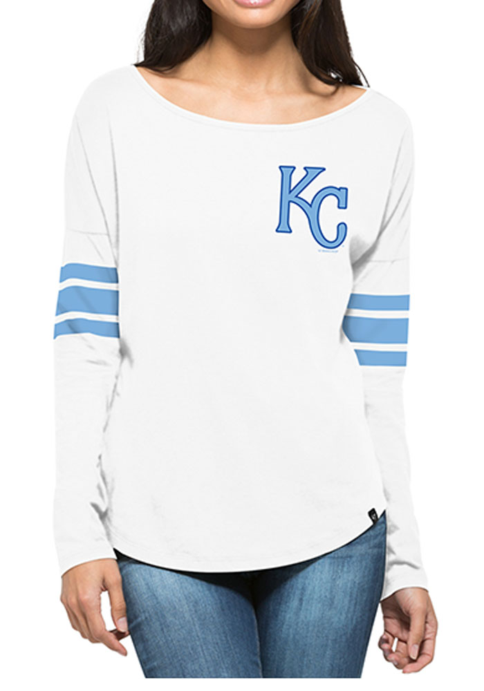 47 KC Royals Womens Ultra Courtside White LS Tee 4806445