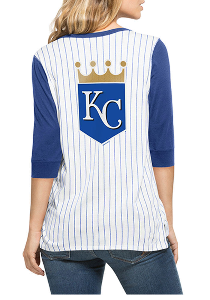 '47 KC Royals Womens White Triple Crown Henley Long Sleeve Scoop Neck - Image 2