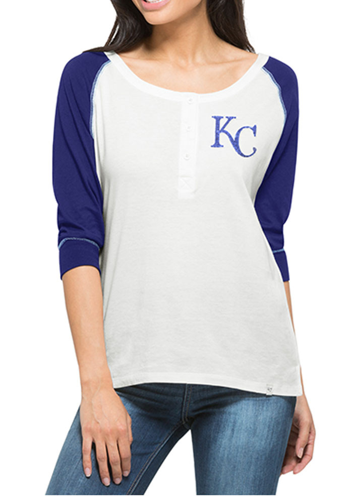 '47 KC Royals Womens White Glitz Henley Long Sleeve Scoop Neck - Image 1
